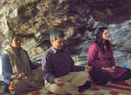 A cave meditation during Himalalyan Adventure trip leaders