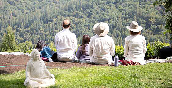 Kriyabans meditating on the ridge at The Moksha Mandir, Ananda Village, Northern California