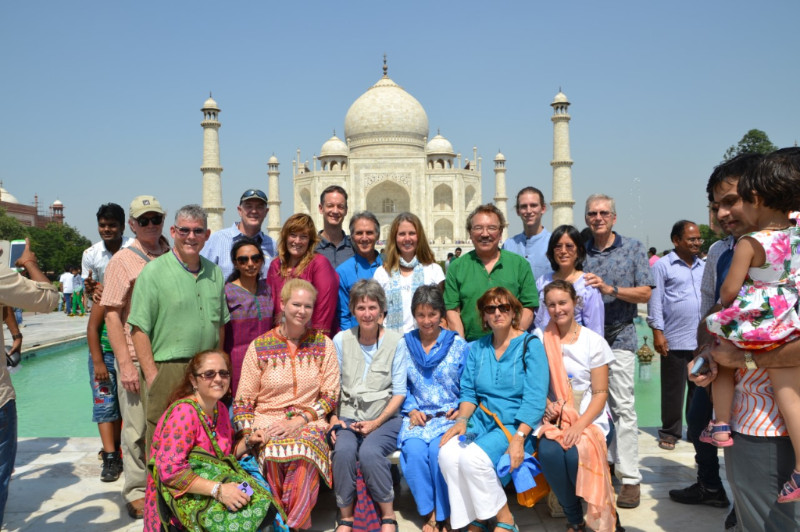 India Pilgrims in front of the Taj Mahal