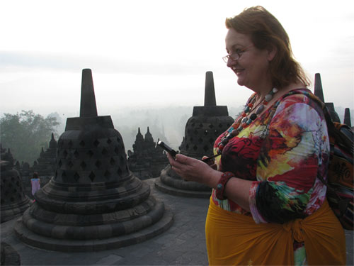 Charlotte at the Borobudur / Indonesia