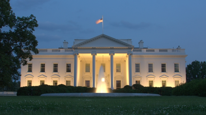 white house in evening