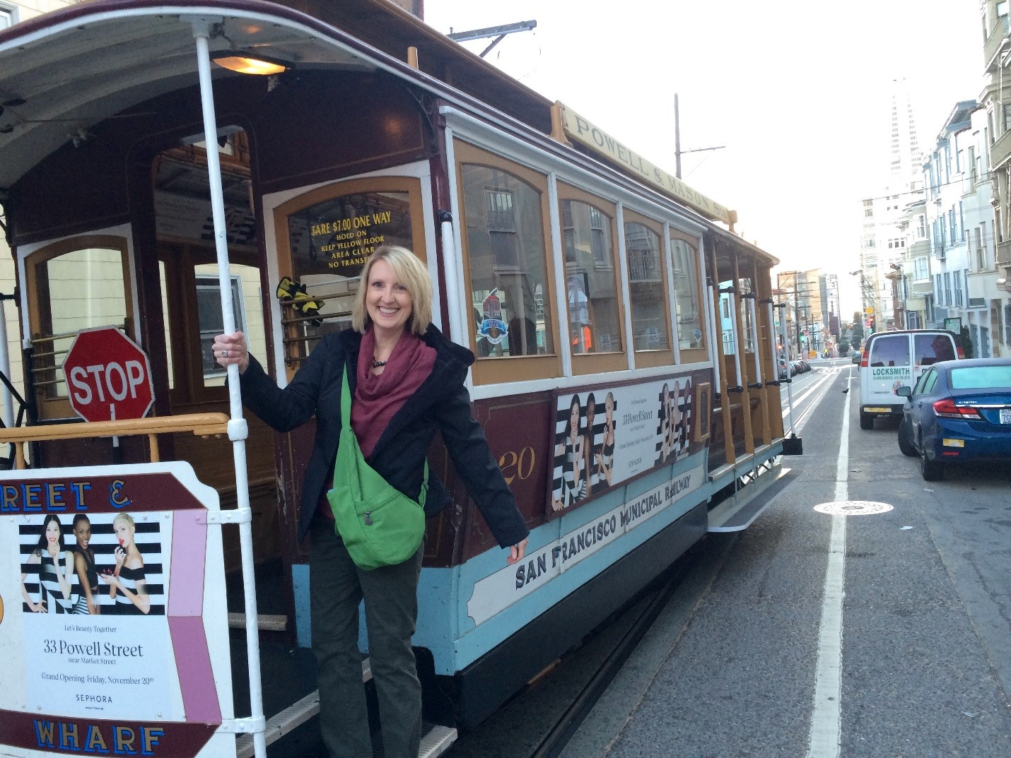 Dr. Weigle catching the trolley in downtown San Francisco