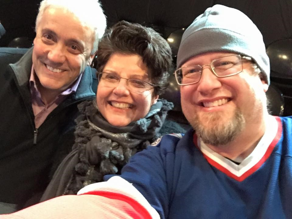 Bob Scholz (NH START Project Manager, Research Assistant, Center for START Services National Consultant & Trainer), Dr. Joan Beasley, and Dave O'Neal watch a filming of The Daily Show while in NYC recently (PS- Happy Birthday, Dr. Beasley!)