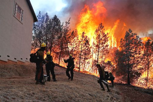 Firefighters at Camp Five Nov 2018 - by Stephen Lam - Reuters