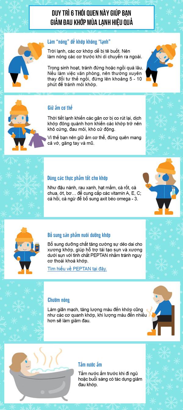 6 thói quen giúp giảm đau khớp mùa lạnh hiệu quả