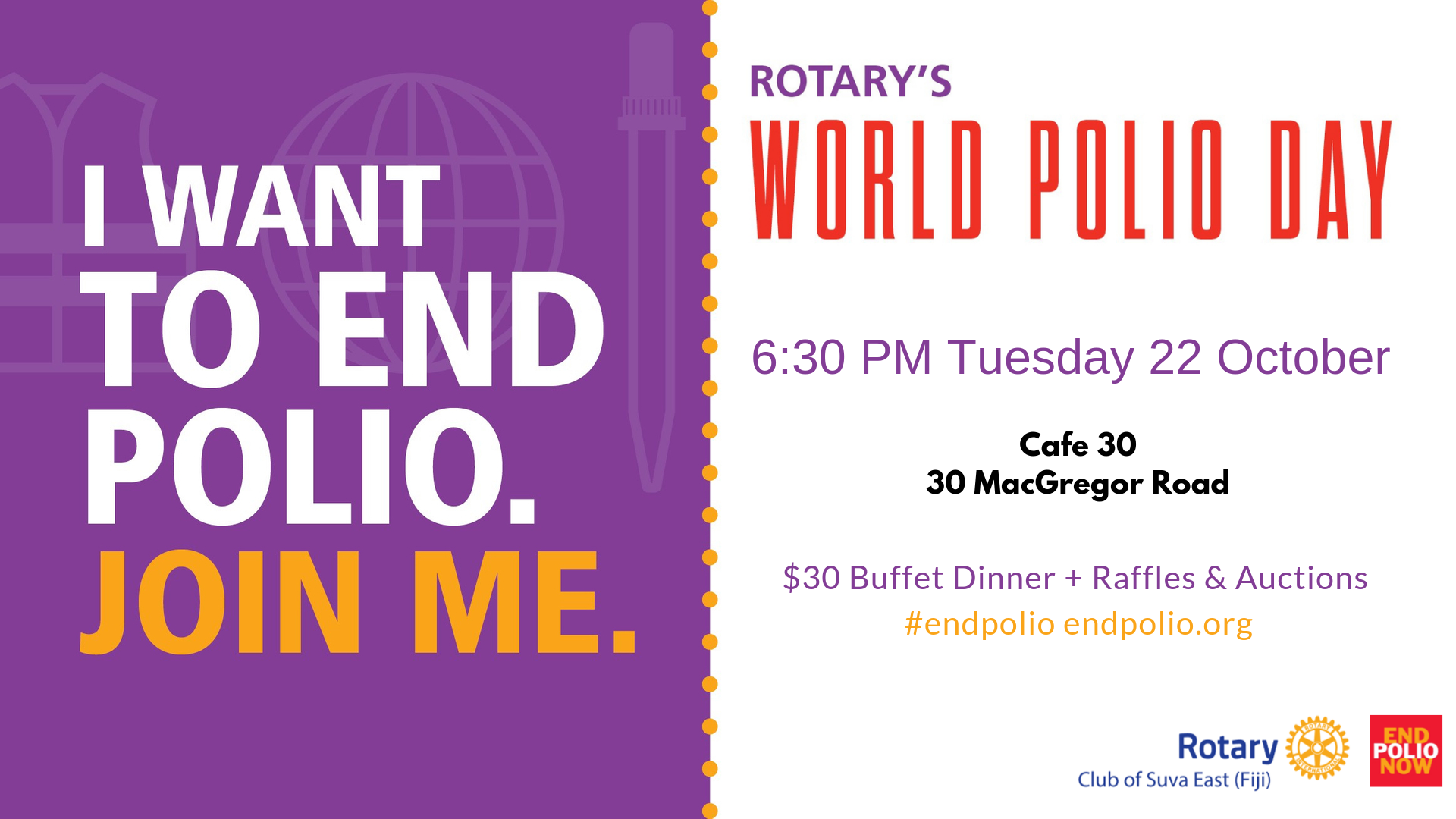 [ RCSE World Polio Day 22 October 6:30 PM @Cafe 30 ]