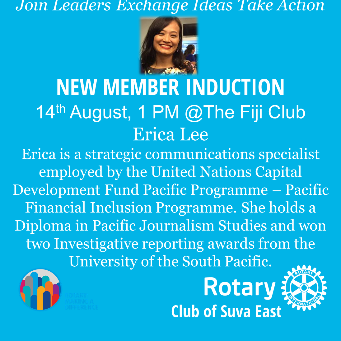 Erica Lee Induction 14th August 1PM Fiji Club
