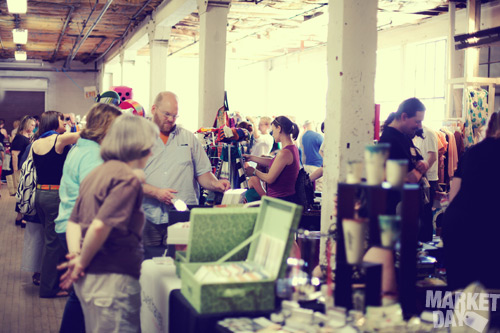 a group of shoppers enjoying may 2009 market day