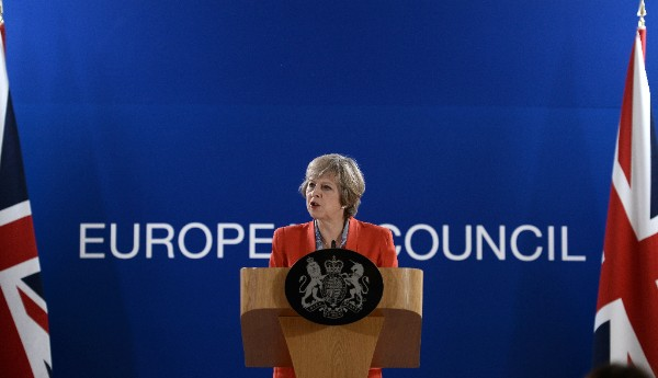 British Prime Minister Theresa May gives a press conference on the second day of a European Union leaders summit on Oct. 21, 2016 at the European Council in Brussels. STEPHANE DE SAKUTIN/AFP/Getty Images