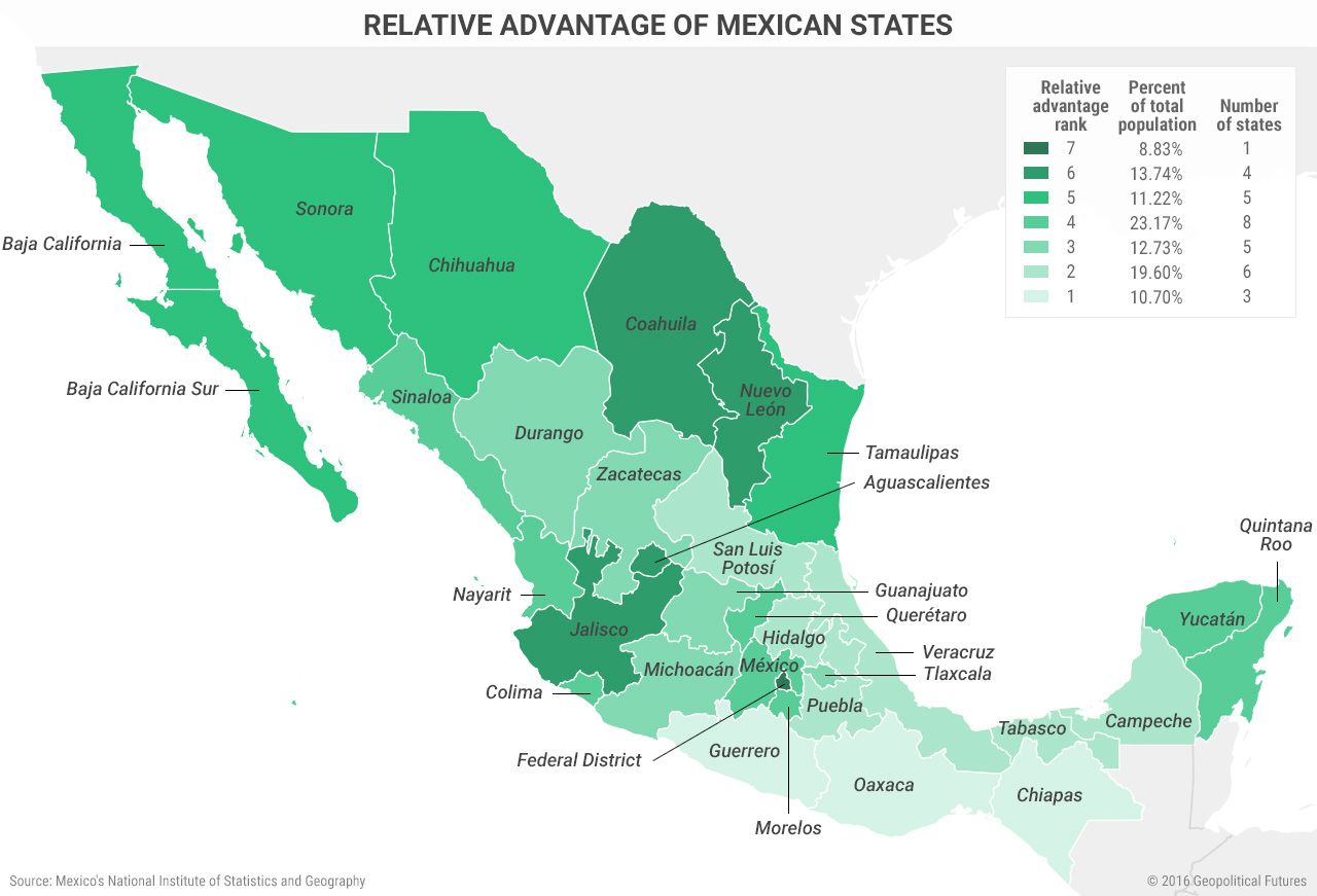 Relative Advantage of Mexican States Map