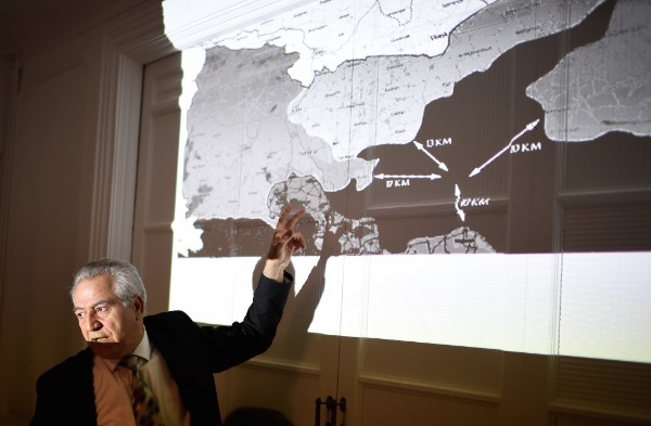 "Kurdish Syrian representative in France Khaled Issa shows a map of alleged attacks against Kurdish forces as he accuses Turkey of ""massively attacking"" Kurdish forces trying to recapture Raqqa, the Islamic State group stronghold in Syria, during a press conference in Paris on Oct. 25, 2016. Iraq announced the launch of the operation to retake Mosul from IS on October 17, and has since been advancing towards the city from the south, east and north. ERIC FEFERBERG/AFP/Getty Images"