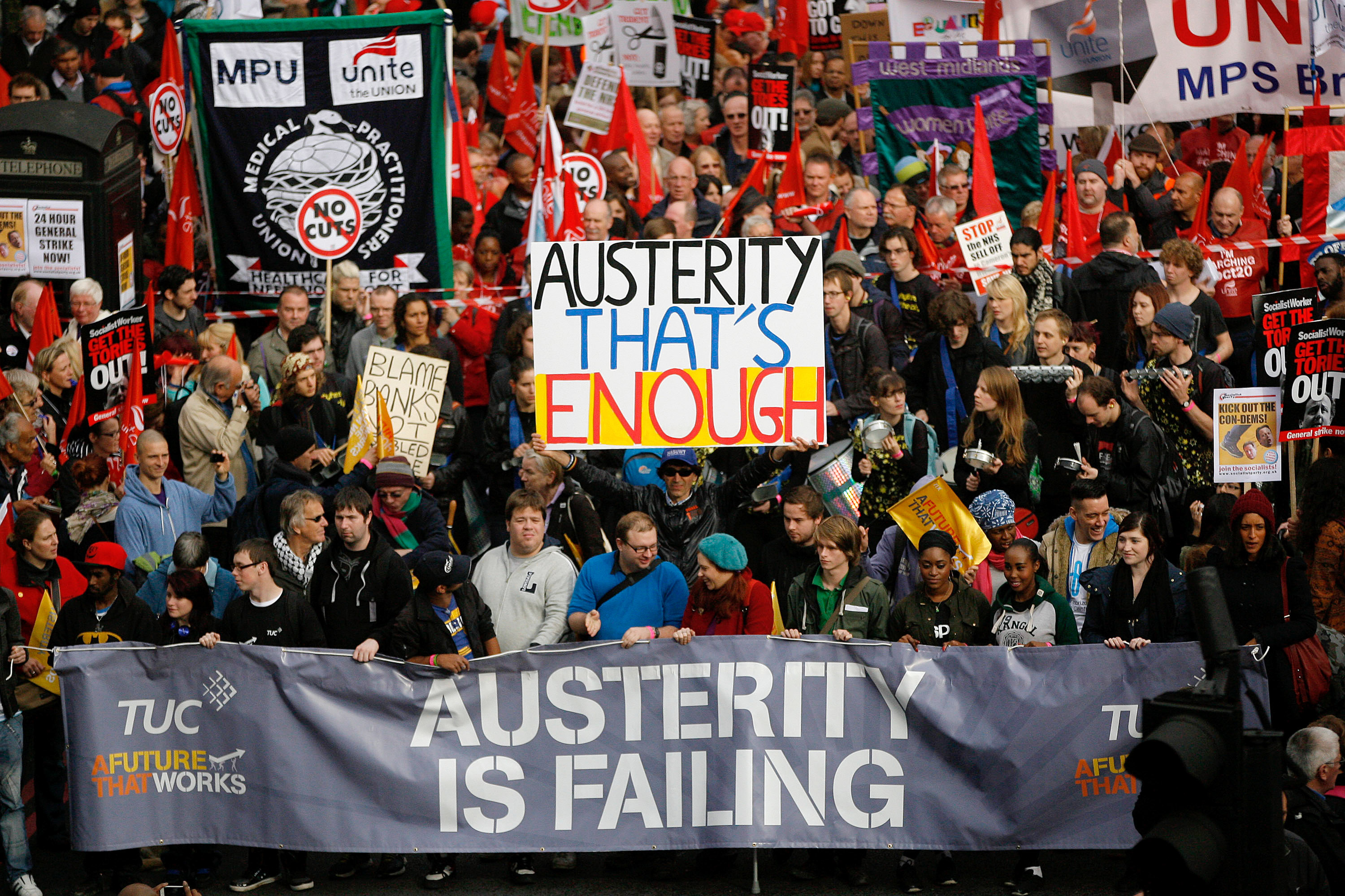 Demonstrators take part in a Trades Union Congress march against the government's austerity measures on Oct. 20, 2012 in London, England. Photo by Warrick Page/Getty Images