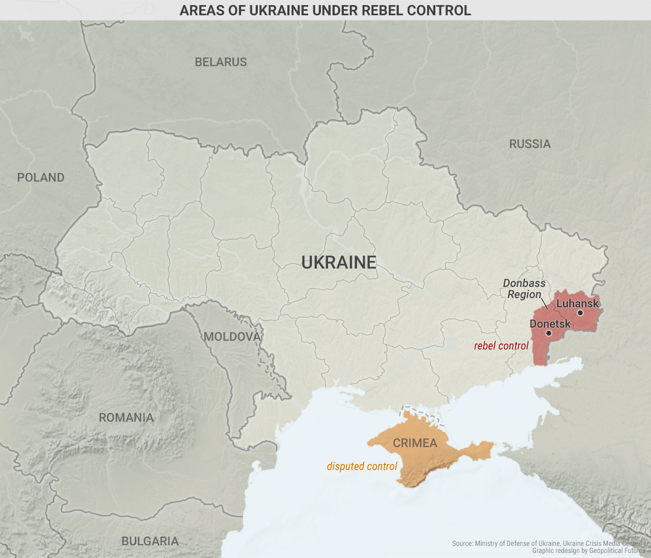 Areas of Ukraine Under Rebel Control