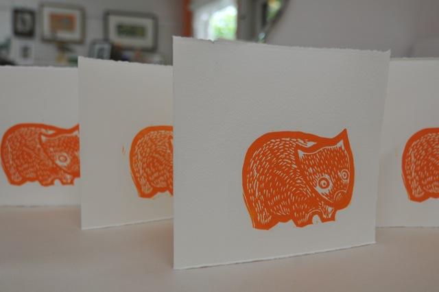 Wombat Linocut