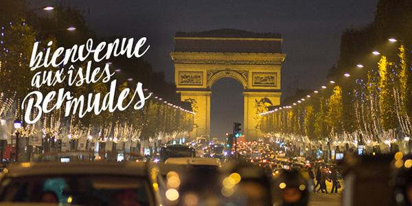 Nighttime view down Avenue des Champs-Elysées to the Arc de Triomph