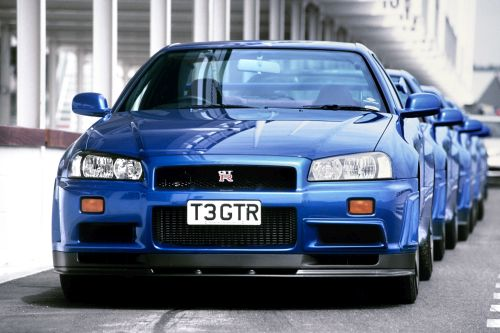 R34 GTR blue production line
