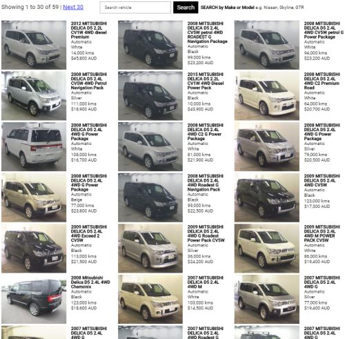 Delica D5 examples complied prices Australia