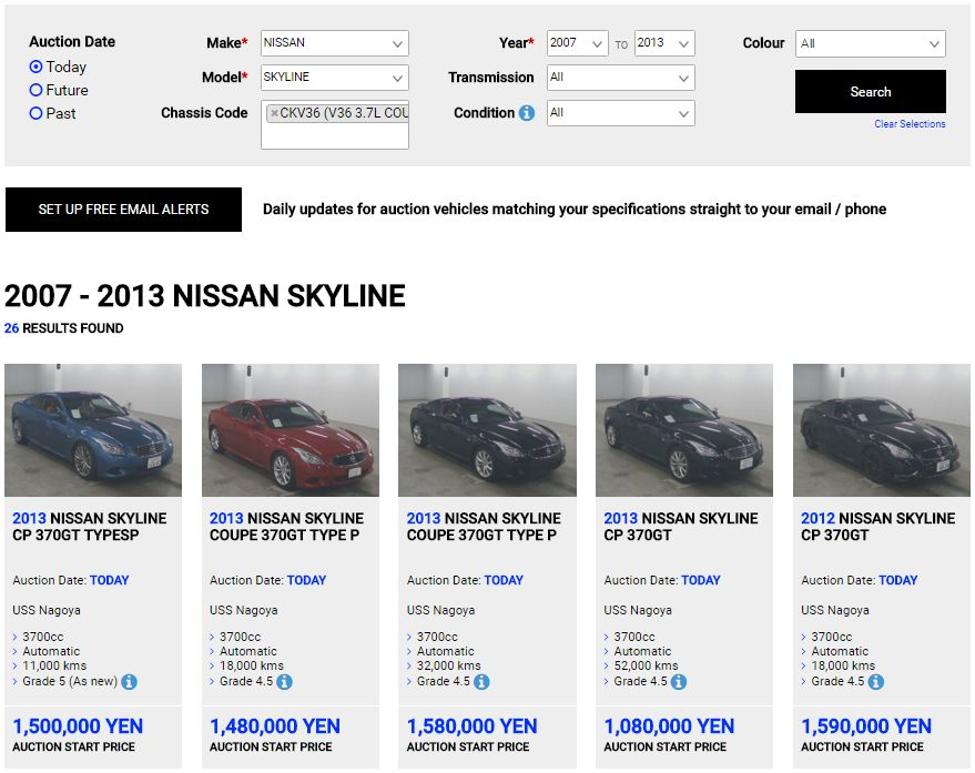 Nissan Skyline V36 today at auction in Japan