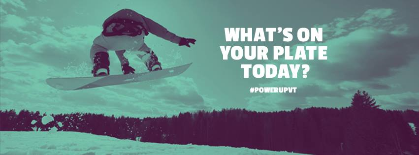 This color filter image of a snowboarder is part of the #PowerUpVT campaign to increase participation in school meals