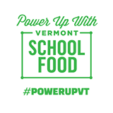 Logo for the Power Up with Vermont School Food campaign #PowerUpVT