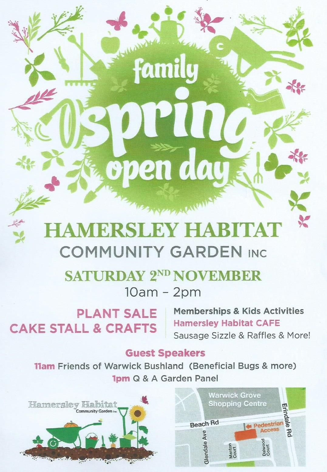 Spring open day Hamersley Habitiat Community Garden