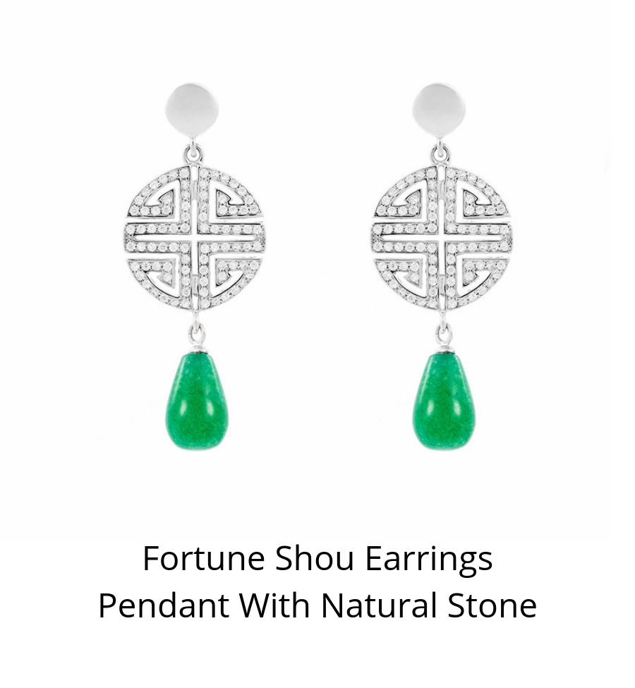 Fortune Shou Earrings Pendant with Natural Stone