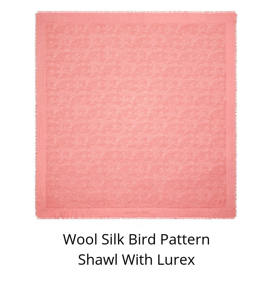 Wool Silk Bird Pattern Shawl with Lurex