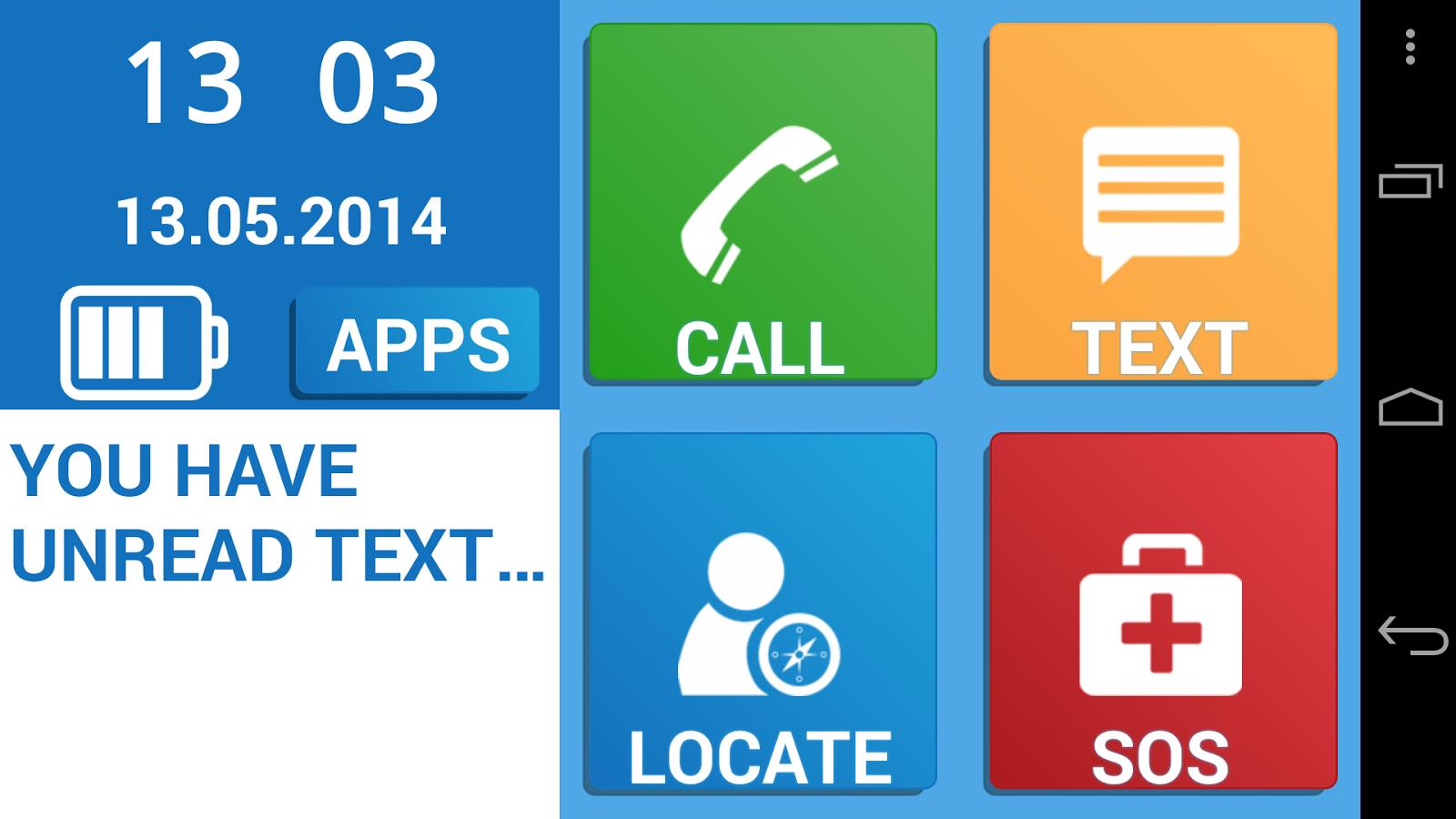 screenshot of simple senior phone app