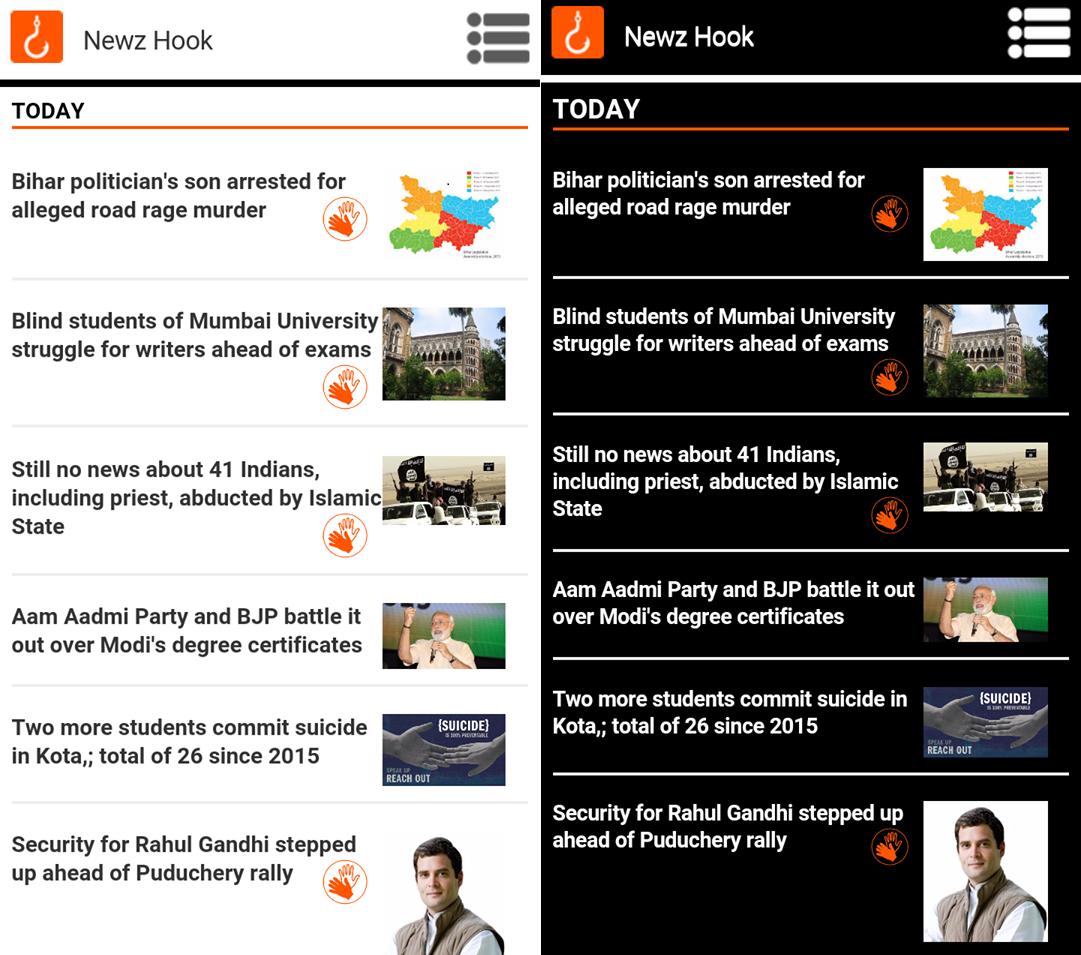 screenshots of Newzhook on mobile phone