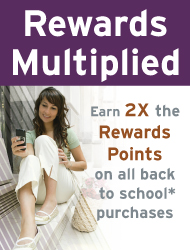 Earn 2x Rewards Points on back to school purchases