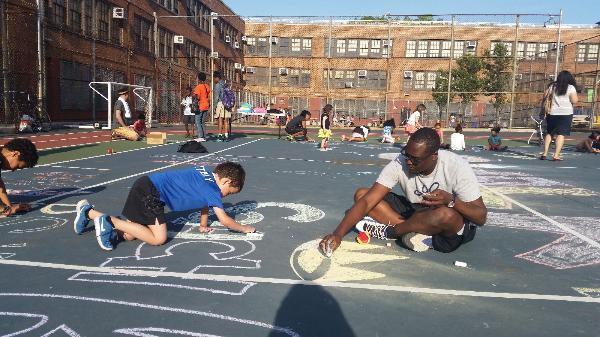 Playworks chalk drawing