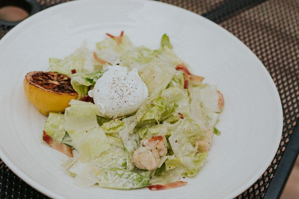 Warmed Caesar Salad with a Poached Egg