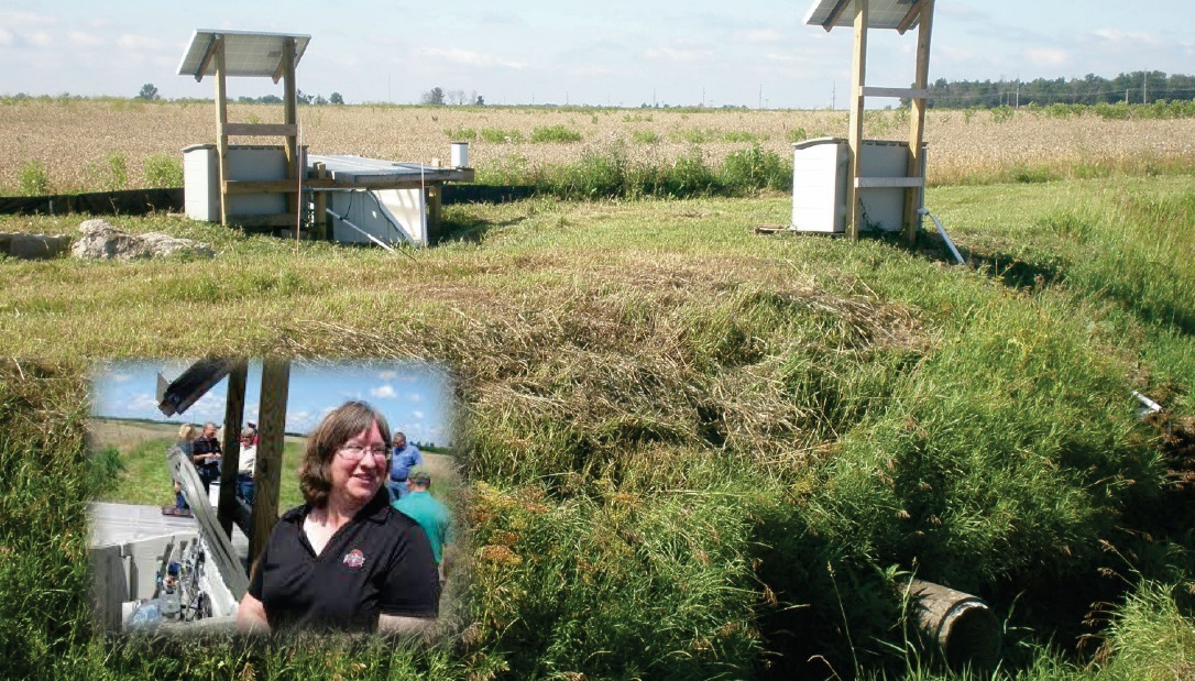 PICTURE OF OHIO FARM WITH PHOTO INSERT OF OSU RESEARCHER