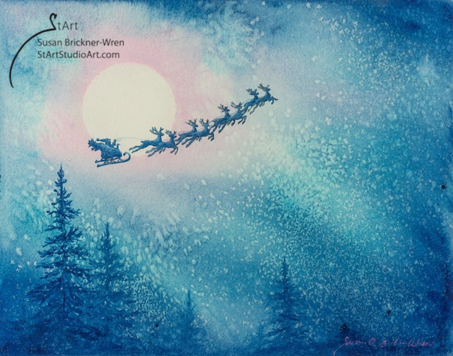 Santa and reindeer flying in sky