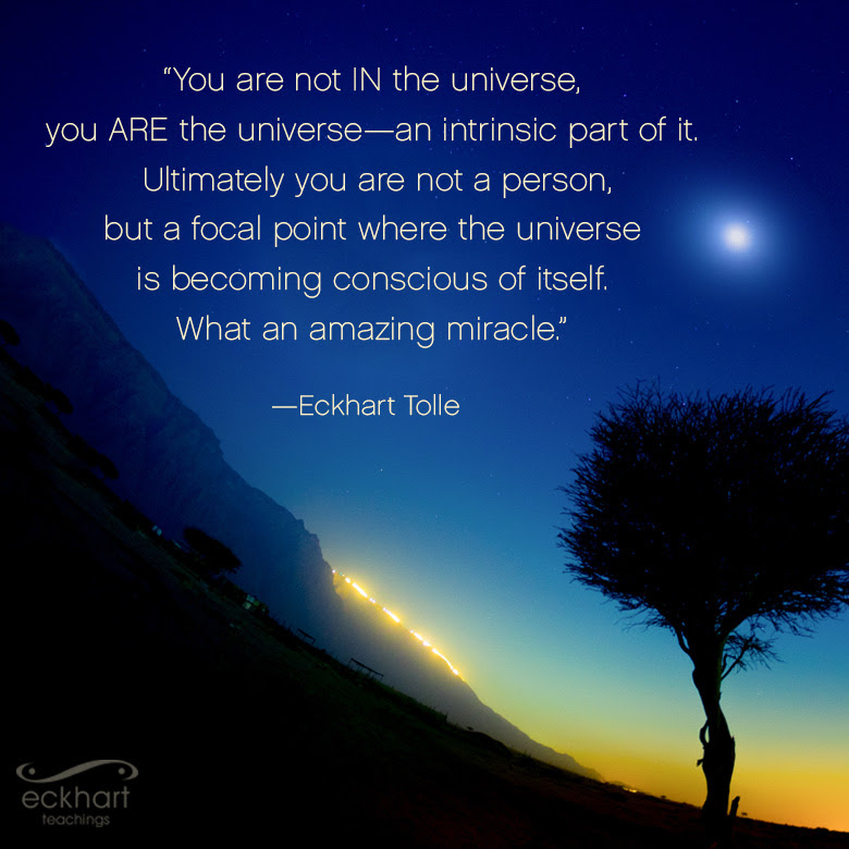 Eckhart Tolle You are not in the universe you ARE the universe