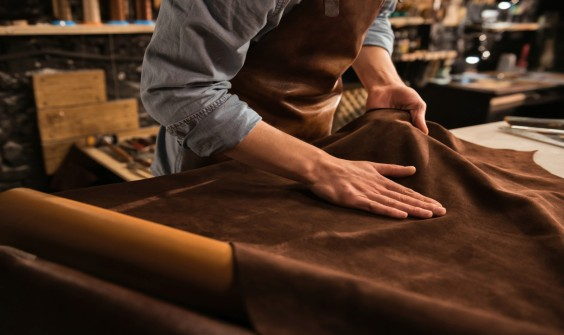 Leather being touched