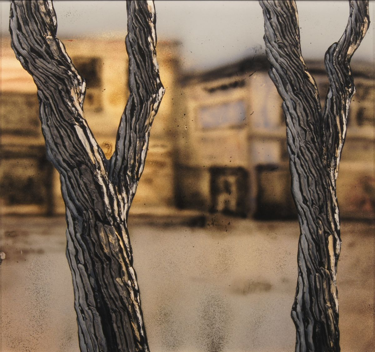 """""""The Supply Company"""" by Christopher Owen Nelson  Mixed Media  18x18"""", One-of-a-Kind  Trees against a backdrop of buildings"""