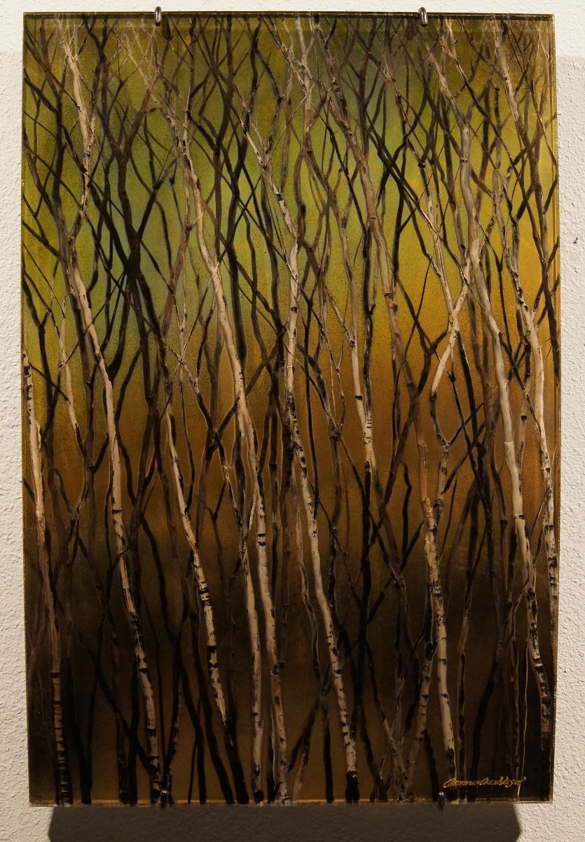 """""""Meander"""" by Christopher Owen Nelson  Carved/Painted Acrylic  36x24"""", One-of-a-Kind  Abstracted Aspen against a Color Field"""