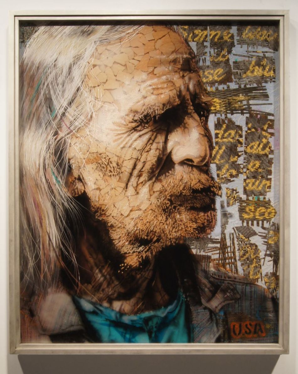 """""""Tornado"""" by Christopher Owen Nelson  Mixed Media  60x48"""", One-of-a-Kind  Figurative Portrait"""