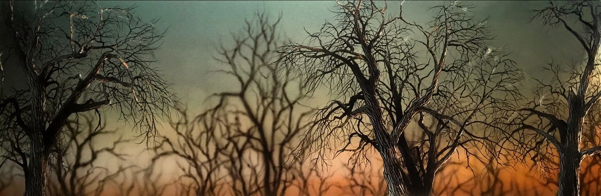 """""""Safari"""" by Christopher Owen Nelson  Carved/Painted Acrylic  24x72"""", One-of-a-Kind  Trees against a glowing color field"""