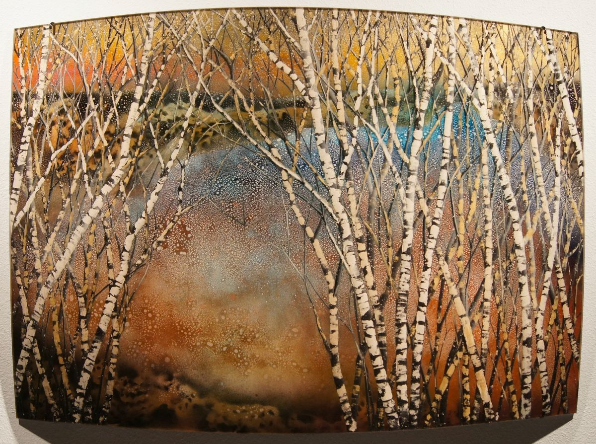"""""""Approach"""" by Christopher Owen Nelson  Carved/Painted Acrylic  48x72"""" One-of-a-Kind  Abstracted Aspen against a rich color field"""