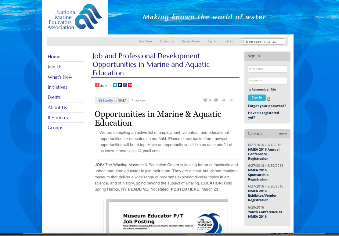 Job and PD Opportunities page