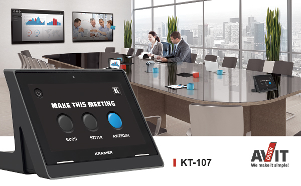 Kramer KT-107 is a powerful, elegant and versatile touch panel for any meeting space