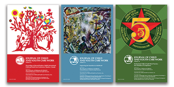 Image of cover page of three volumes of the Journal of Child and Youth Care Work