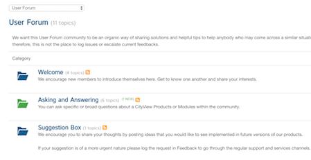 CityView User Forum Screen
