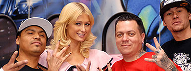 Ryan Friedlinghaus and crew with Paris Hilton