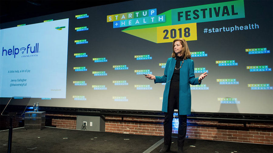 Jenny Gallagher on stage at StartUp Health Festival