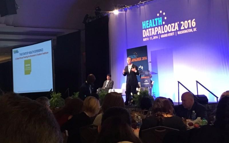 Steven Krein thanks Todd Park, Aneesh Chopra, Susannah Fox and Greg Downing during StartUp Health's five year progress update at Health Datapalooza 2016