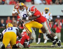 LSU player getting crushed by UGA linebacker