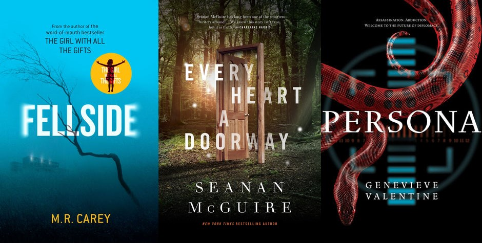 Covers of Fellside, Every Heart a Doorway, and Persona